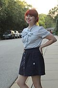 Striped Bow Neck Blouse and a Navy Blue Mini Skirt (18966025833).jpg