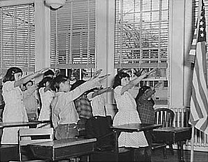 West Virginia State Board of Education v. Barnette - Students pledging to the flag with the Bellamy salute, March 1941.