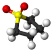 Ball-and-stick model of the sulfolane molecule