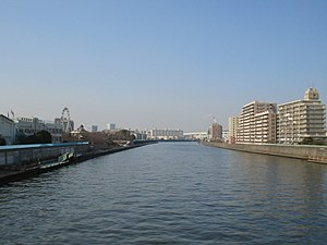 Adachi, Tokyo - The Sumida River makes up the southern border of Adachi (right) and the northern border of Arakawa (left)
