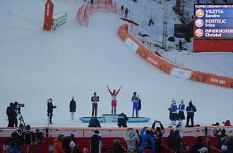 Alpine skiing at the 2014 Winter Olympics – Men's combined - Flower ceremony