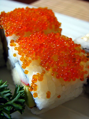 File sushi with salmon wikimedia commons for Fish eggs on sushi