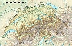 """Mapa konturowa Szwajcarii, w centrum znajduje się owalna plamka nieco zaostrzona i wystająca na lewo w swoim dolnym rogu z opisem """"Oeschinen"""""""