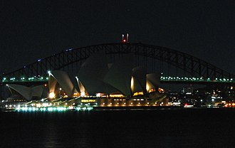 Earth Hour - Sydney Harbour Bridge and Sydney Opera House were darkened during Earth Hour 2007.