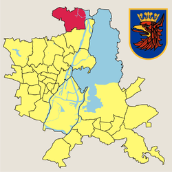 Location of Skolwin within Szczecin