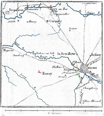 Old map shows the Reims and Berry-au-Bac area.