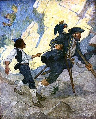 Long John Silver - Long John Silver leading Jim Hawkins in The Hostage, illustration by N. C. Wyeth, 1911