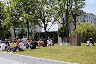 Delft University of Technology - Entrance to the Mekelpark, with the statue of Prometheus, university's symbol.