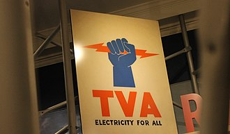 Tennessee Valley Authority - TVA electricity sign at Franklin D. Roosevelt Presidential Library and Museum in Hyde Park, New York