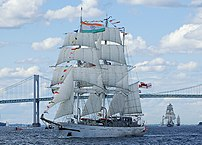 The Indian barque Tarangini passing under the ...