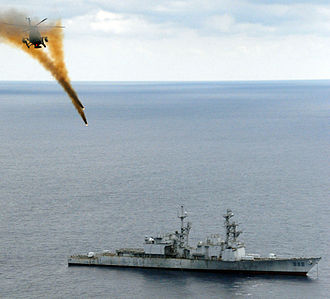 USS Conolly - A Mexican helicopter fires at ex-Connolly on 29 April 2009