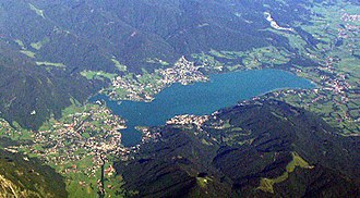 Tegernsee - Aerial view of Lake Tegernsee and the village