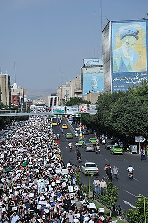 2009 in Iran - Protesters in Tehran during the 2009 Iranian election protests, 16 June 2009