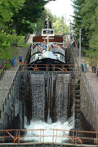 Telemark Canal - The Henrik Ibsen in a lock at Vrangfoss staircase locks