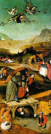 The left panel: The Flight and Failure of St Anthony