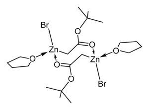 Reformatsky reaction - Image: Tert butyl bromozincacetate THF dimer from xtal 2D skeletal D