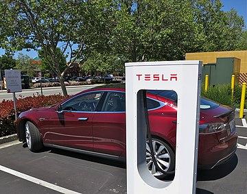 Tesla Model S At A Supercharger Station