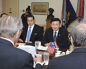 Thailand–United States relations - Thaksin Shinawatra and Surakiart Sathirathai meeting with former U.S. Defense Secretary Donald Rumsfeld on 19 September 2005