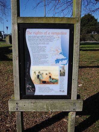 Rangatira - A sign explaining the tangata whenua history of The Bricks, Christchurch