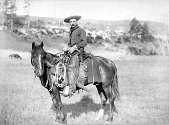 Western riding - A cowboy of the old west in classic regalia