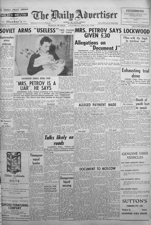 The Daily Advertiser (Wagga Wagga) - 10 July 1954 front page, second edition