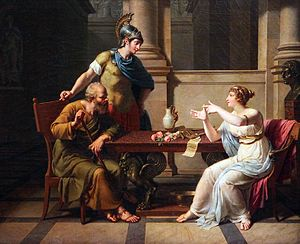 Painting of man and woman in classical Greek clothing, seated at a table, in discussion. A man in military gear leans over the table.