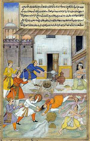 Daksha - Image: The Destruction of Daksha's sacrifice, from an illustrated manuscript of the Razmnama