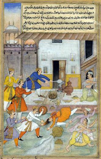 Daksha - Image: The Destruction of Daksha's sacrifice, from an illustrated manuscript of the Razmnama