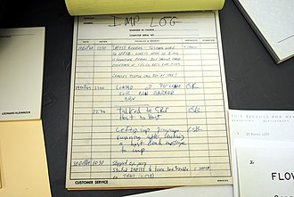 Social media - IMP log for the first message sent over the Internet, using ARPANET.