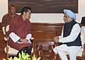 The King of Bhutan, His Majesty Jigme Khesar Namgyel Wangchuck meeting the Prime Minister, Dr. Manmohan Singh, in New Delhi on January 07, 2014.jpg