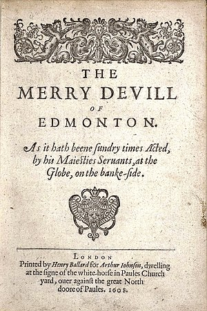 The Merry Devil of Edmonton - Title page of the 1608 edition of The Merry Devil of Edmonton