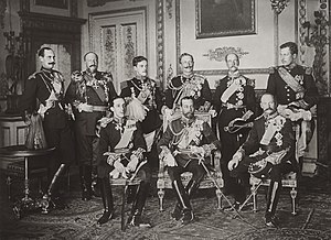 Ferdinand I of Bulgaria - The Nine Sovereigns at Windsor for the funeral of King Edward VII, photographed on 20 May 1910. Standing, from left to right: King Haakon VII of Norway, Tsar Ferdinand of the Bulgarians, King Manuel II of Portugal and the Algarve, Kaiser Wilhelm II of Germany and Prussia, King George I of the Hellenes and King Albert I of the Belgians. Seated, from left to right: King Alfonso XIII of Spain, King George V of the United Kingdom and King Frederick VIII of Denmark.