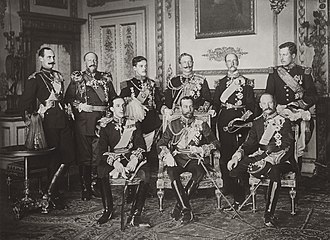 Alfonso XIII of Spain - The nine sovereigns at Windsor for the funeral of King Edward VII, photographed on 20 May 1910. Standing, from left to right: King Haakon VII of Norway, Tsar Ferdinand of the Bulgarians, King Manuel II of Portugal and the Algarve, Kaiser Wilhelm II of Germany and Prussia, King George I of the Hellenes and King Albert I of the Belgians. Seated, from left to right: King Alfonso XIII of Spain, King George V of the United Kingdom and King Frederick VIII of Denmark