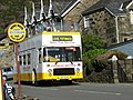 The Open Top Rhyd-Ddu to Porthmadog Bus Leaves Beddgelert on its Last Journey of the Day - geograph.org.uk - 234646.jpg