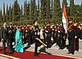 The President, Smt. Pratibha Devisingh Patil inspecting a Guard of Honour on her Ceremonial Reception, at the Presidential Palace, at Damascus in Syria on November 27, 2010.jpg