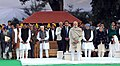 The Prime Minister, Shri Narendra Modi at Gandhi Smriti, on the occasion of Martyrs' Day, in New Delhi on January 30, 2018. The former Prime Minister, Dr. Manmohan Singh is also seen.jpg