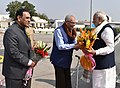 The Prime Minister, Shri Narendra Modi being received by the Governor of Gujarat and Madhya Pradesh, Shri O.P. Kohli and the Chief Minister of Gujarat, Shri Vijay Rupani, on his arrival, in Ahmedabad, Gujarat.jpg