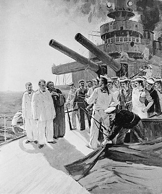 1905 Russian Revolution - Artistic impression of the mutiny by the crew of the battleship Potemkin against the ship's officers on 14 June 1905