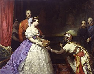 Thomas Jones Barker - Image: The Secret of England's Greatness' (Queen Victoria presenting a Bible in the Audience Chamber at Windsor) by Thomas Jones Barker