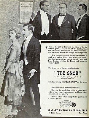 Snob - Ad for the American film The Snob, 1921 film with Wanda Hawley and Walter Hiers, on inside front cover of the January 30, 1921 Film Daily.