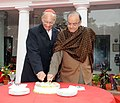 The Union Minister for Finance, Corporate Affairs and Information & Broadcasting, Shri Arun Jaitley cutting the Christmas cake along with His Eminence Cardinal Oswald Gracias, in New Delhi on December 29, 2015.jpg