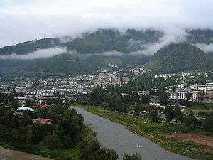 View of Thimphu, Capital of Bhutan.