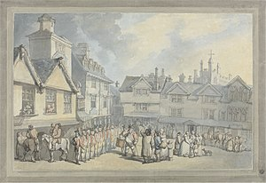 Ely and Littleport riots of 1816 - Image: Thomas Rowlandson A review in a market place