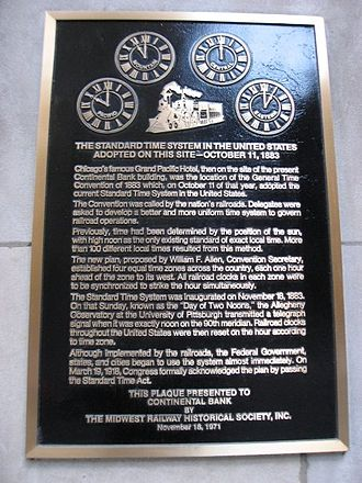 Plaque commemorating the Railway General Time Convention of 1883 in North America Time zone chicago.jpg