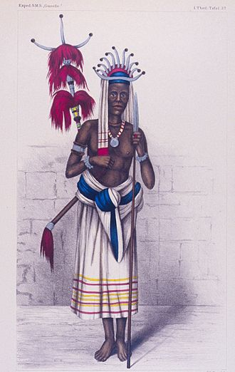 Timor - Portrait of a Timorese warrior at the area of Kupang in 1875 from report of expedition of German SMS Gazelle.