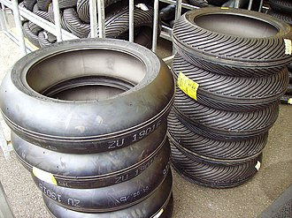 Motorcycle tyre -  Pirelli Diablo Superbike slick tyres (left) and rain tyres (right)