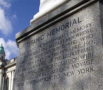 Titanic Memorial, Belfast - Front inscription on the plinth