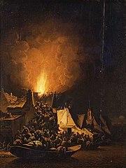 Dorpsbrand bij nacht