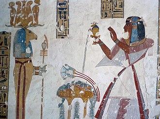 KV19 - Prince Mentuherkhepsef presents an offering to Banebdjed in KV19.