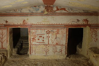 Tomb of the Bulls - The back wall of the tomb's main chamber as seen from the entrance